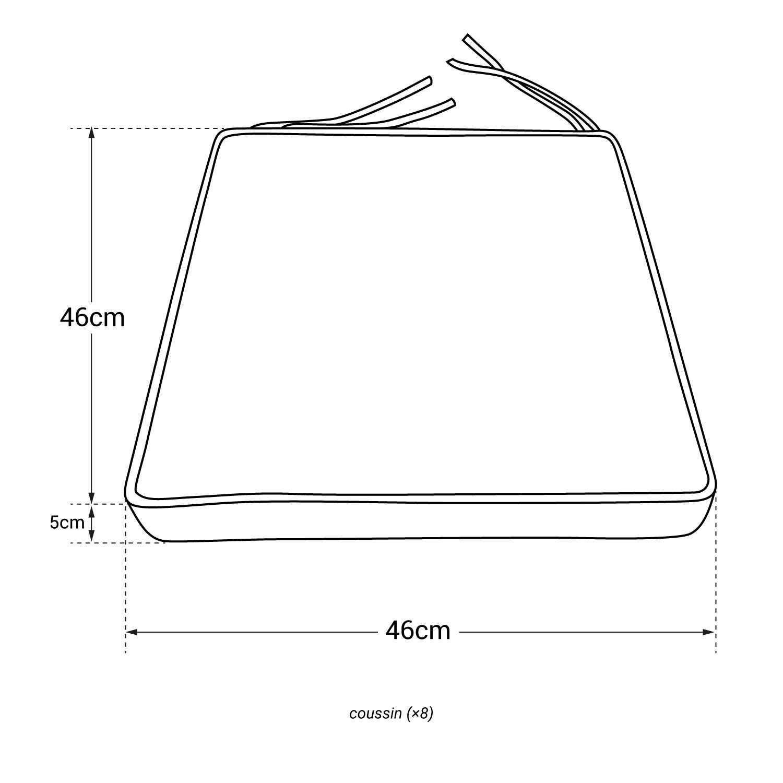 Lot de 8 coussins pour chaise carré 46x46cm taupe