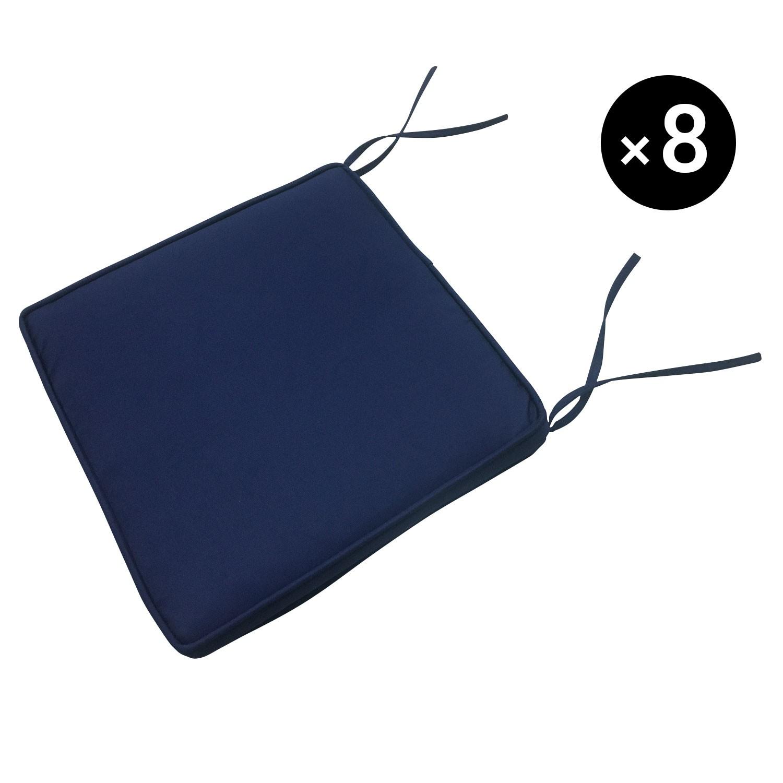 Lot de 8 coussins pour chaise carré 46x46cm bleu