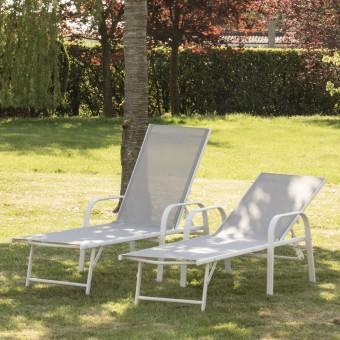 Lot de 2 bains de soleil SARDINIA en textilène gris - structure blanche