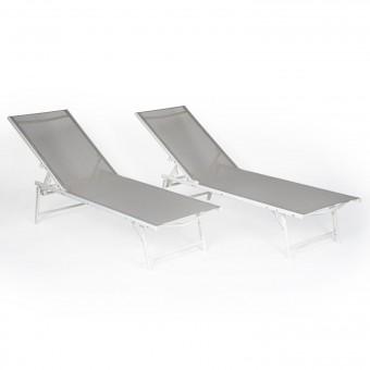 Lot de 2 bains de soleil pliants SICILIA en textilène gris - structure blanche