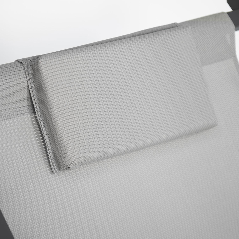 Lot de 2 chiliennes CYPRUS - textilène gris/structure anthracite