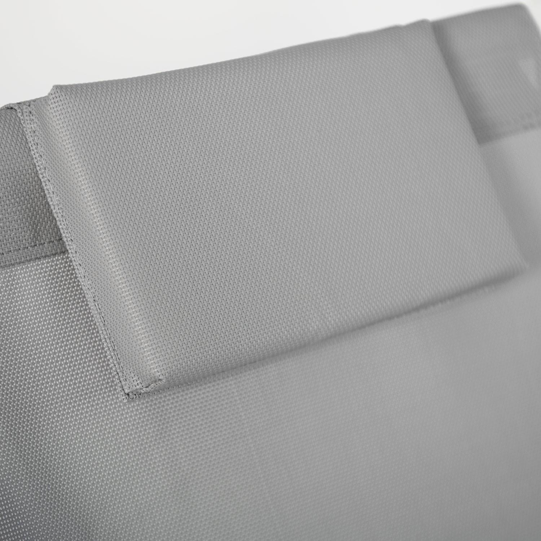Lot de 2 chiliennes CYPRUS - textilène gris/structure blanche