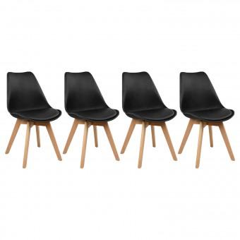 Lot de 4 chaises scandinaves MARIA noires avec coussin