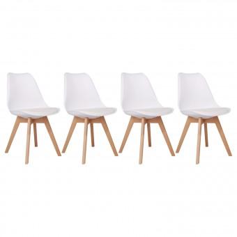 Lot de 4 chaises scandinaves MARIA blanches avec coussin