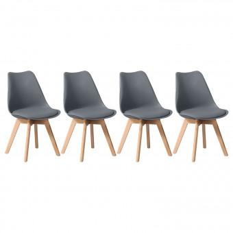 Lot de 4 chaises scandinaves MARIA grises avec coussin