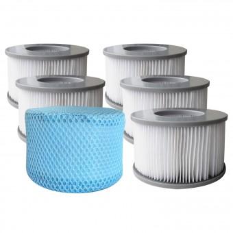 Lot de 6 cartouches filtrantes avec filet pour spa gonflable MSPA