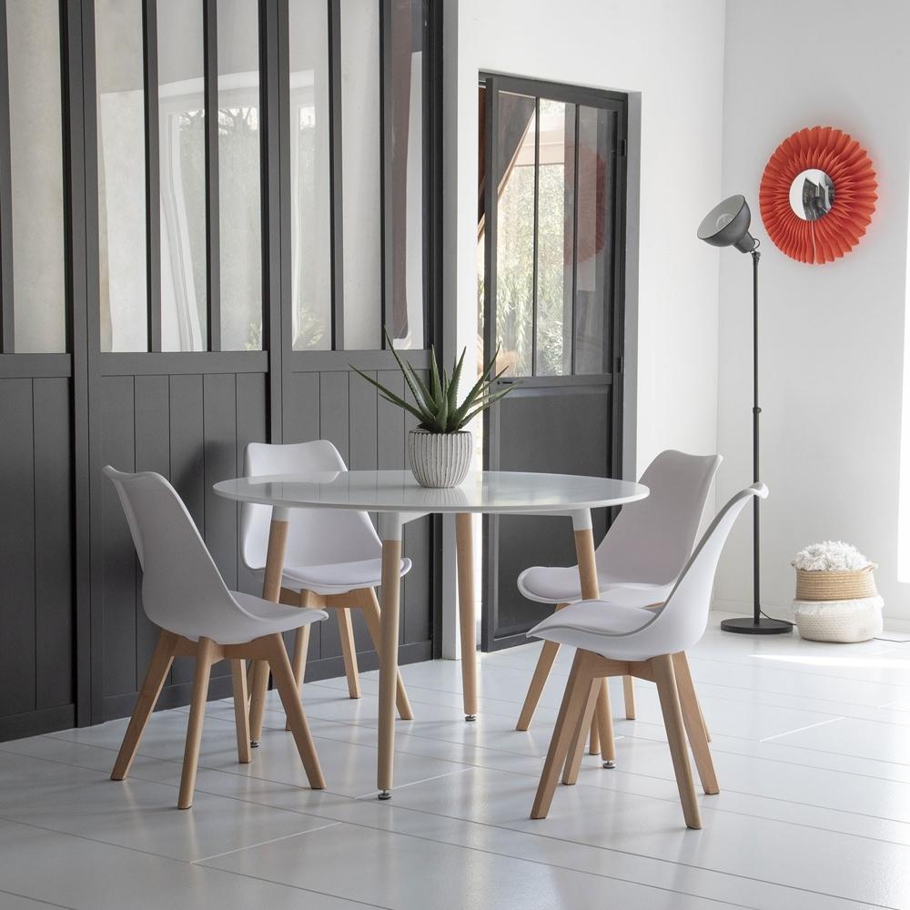 Ensemble table ronde 120cm MARTHA et 4 chaises NORA blanc