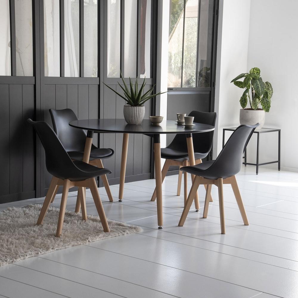 Ensemble table ronde 120cm MARTHA et 4 chaises NORA noir