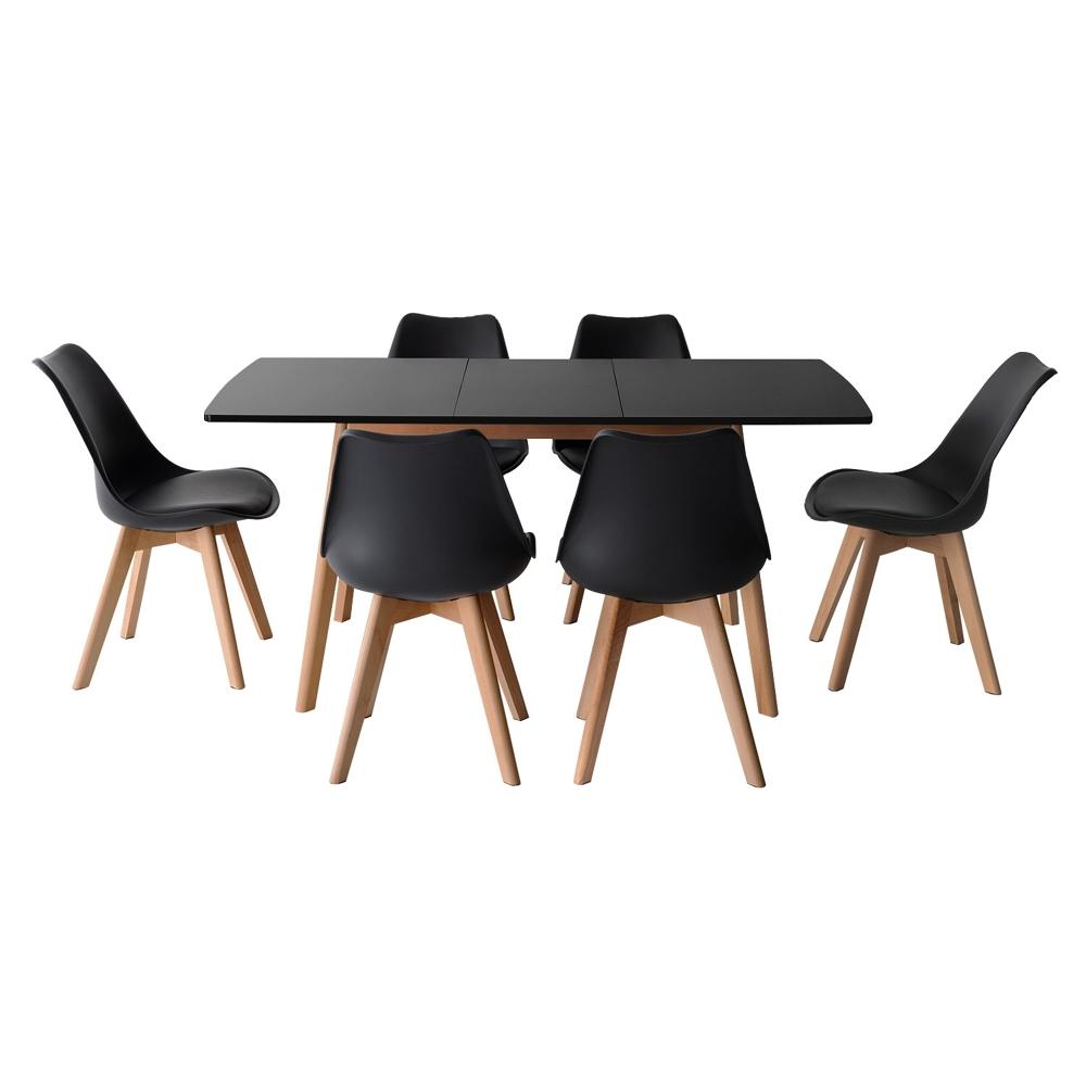 Ensemble table extensible 120/160cm HELGA et 6 chaises NORA noir