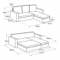 Canapé d'angle convertible simili cuir CLARK 3 places taupe