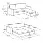 Canapé d'angle convertible simili cuir CLARK 3 places gris