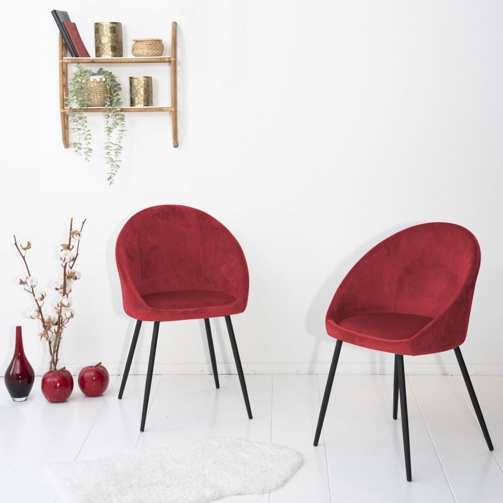 Lot de 2 chaises vintage DIANE velours pourpre