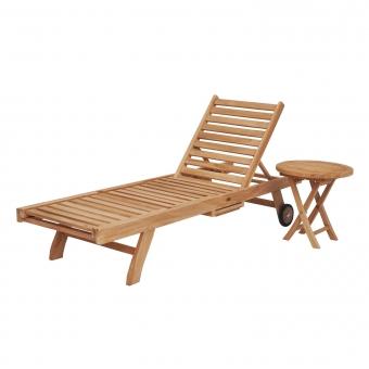 Ensemble bain de soleil pliant en teck avec table d'appoint LOMBOK