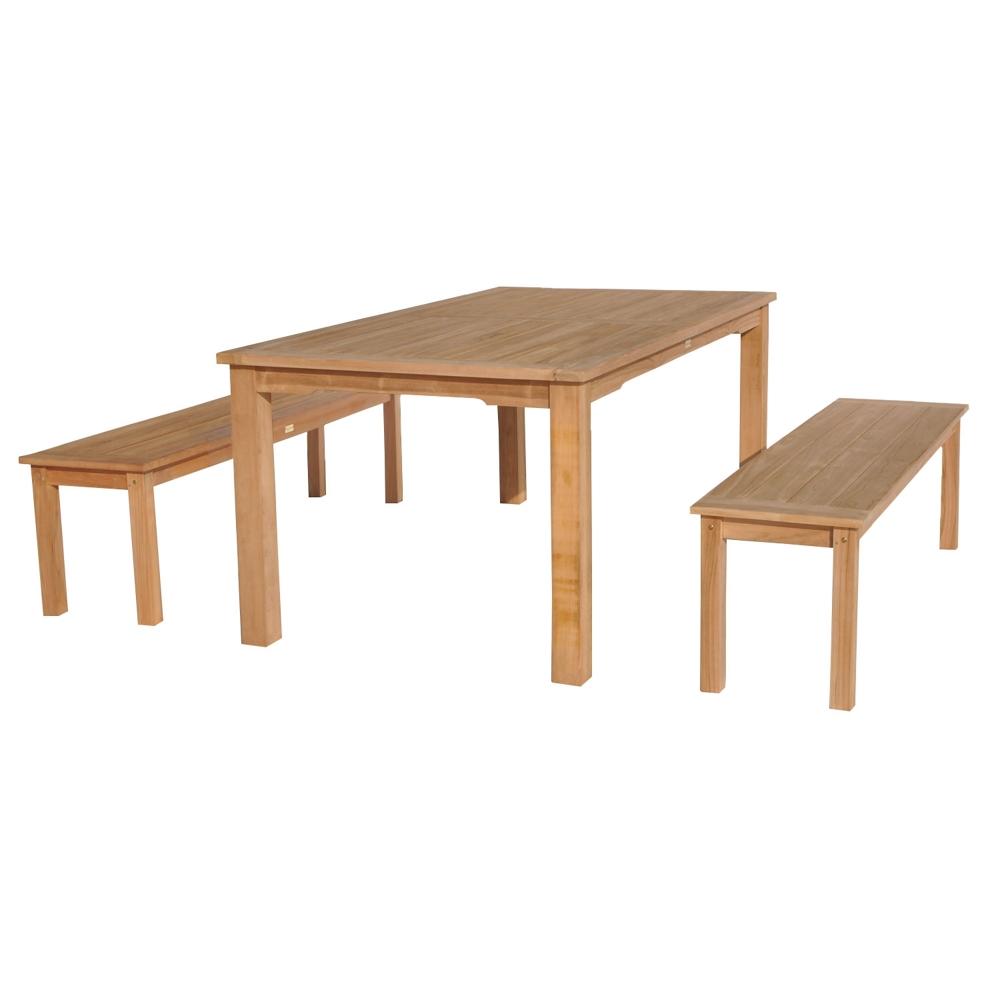 Salon de jardin en teck JAVA - table rectangulaire et bancs