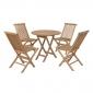 Salon de jardin en teck LOMBOK - table ronde pliable 80cm - 4 places