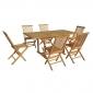 Salon de jardin en teck LOMBOK - table rectangulaire extensible - 6 places