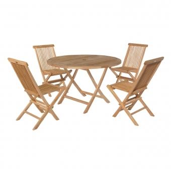 Salon de jardin en teck LOMBOK - table ronde pliable 120cm - 4 places