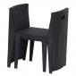 Salon de jardin LAGOS en résine tressée noire 2 places - coussins gris