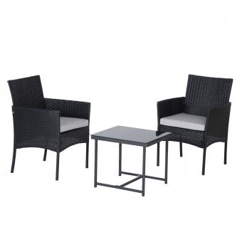 Salon de jardin FARO en résine tressée noire 2 places - coussins gris