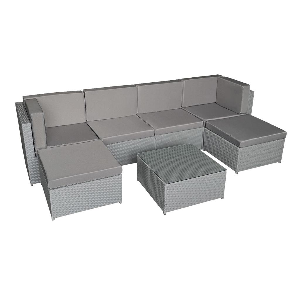 Salon de jardin BONIFACIO en résine tressée gris 6 places - coussin gris