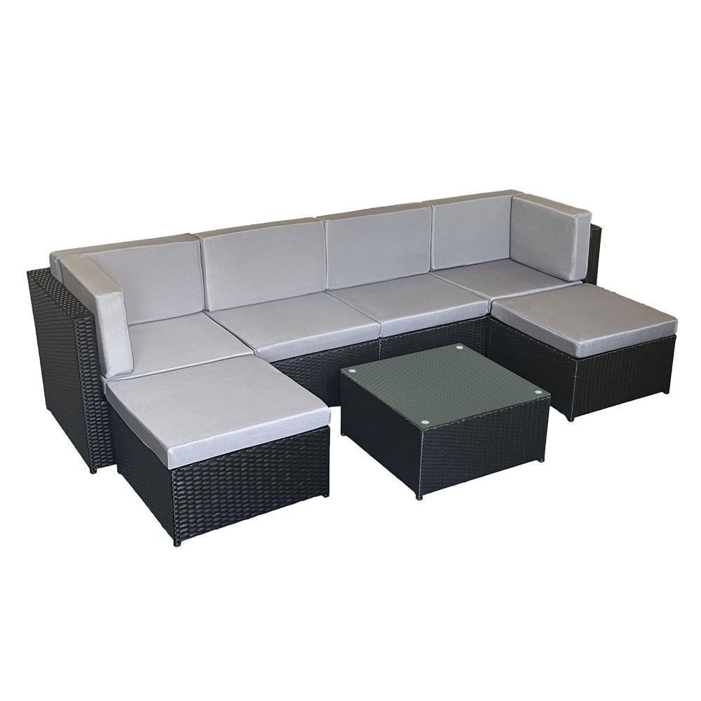 Salon de jardin BONIFACIO en résine tressée noir 6 places - coussin gris