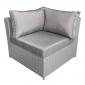 Salon de jardin CARGÈSE en résine tressée gris 7 places - coussins gris
