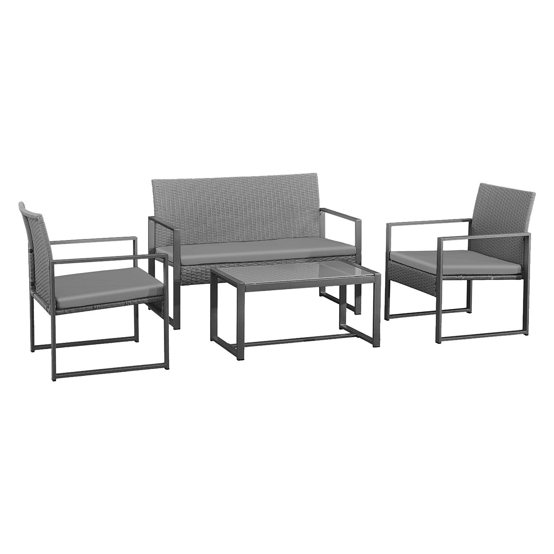 Salon de jardin MAJORQUE en résine tressée gris 4 places - coussins gris