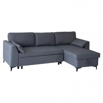 Canapé d'angle convertible LOGAN 3 places gris chiné