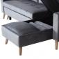 Canapé d'angle convertible JAMES 3 places en velours gris