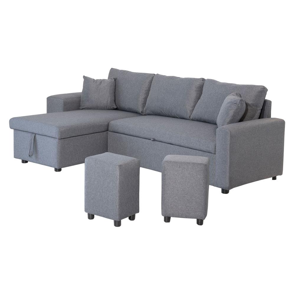 Canapé d'angle convertible TONY 3 places gris chiné