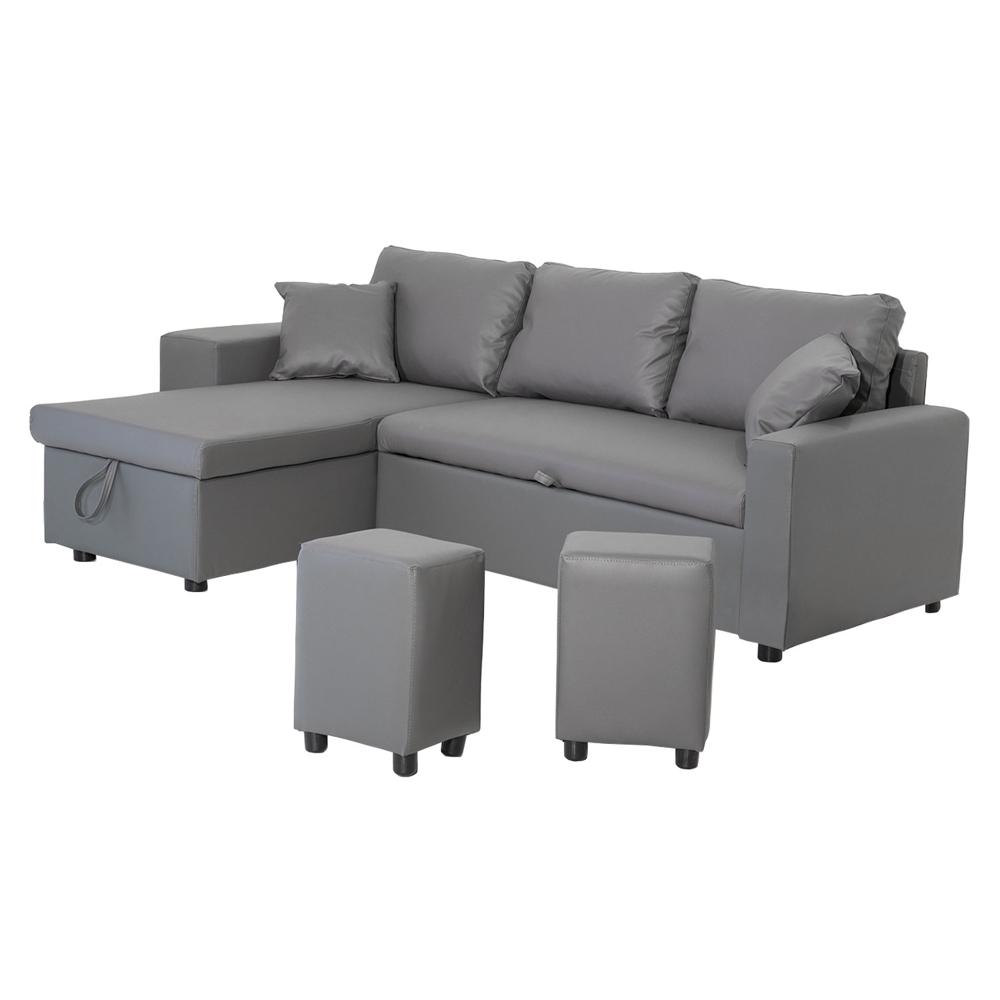 Canapé d'angle convertible TONY 3 places gris