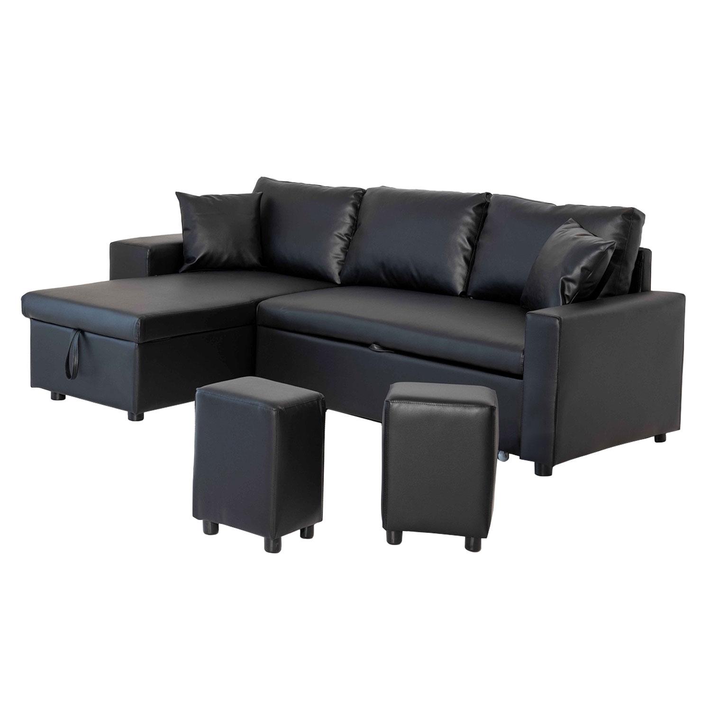 Canapé d'angle convertible TONY 3 places noir