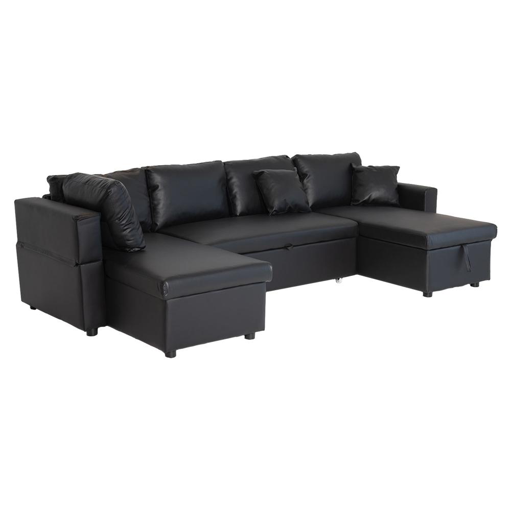 Canapé panoramique convertible simili cuir SCOTT 4 places noir