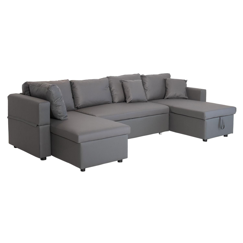 Canapé convertible simili cuir SCOTT 4 places gris