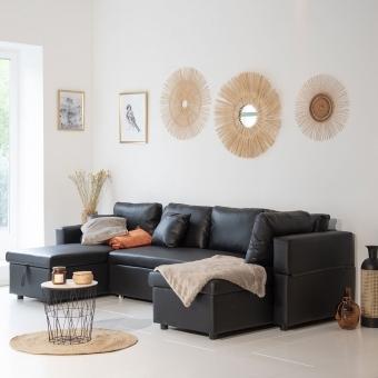 Canapé panoramique convertible simili SCOTT 4 places noir