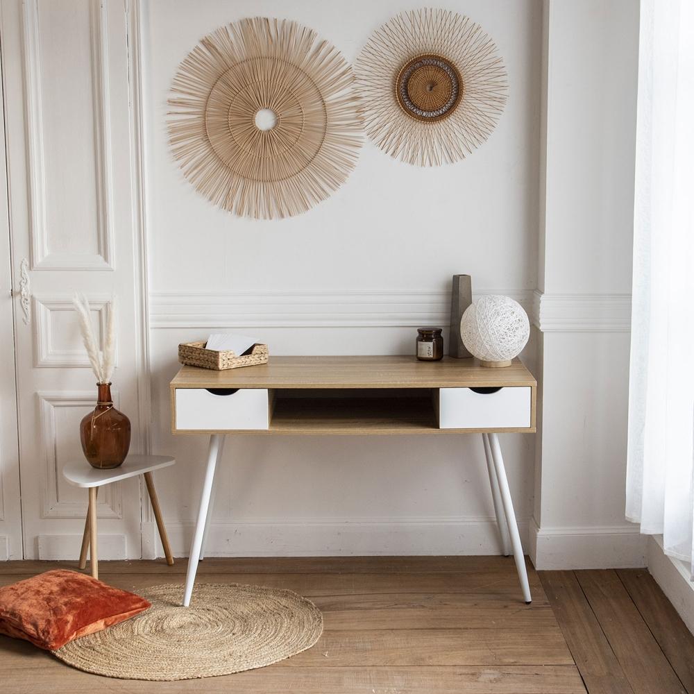 Bureau scandinave bois, tiroirs blancs BJORN