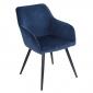 Chaise vintage GISELE velours bleu