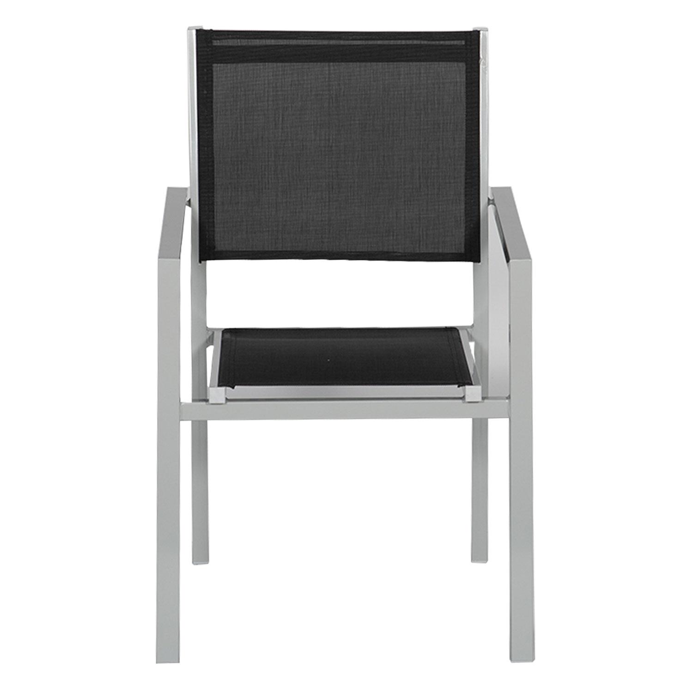 Happy Garden Lot de 10 chaises en Aluminium Anthracite textil/ène Gris