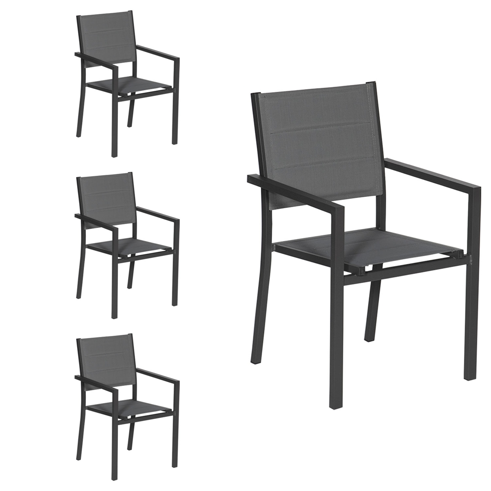 Lot de 4 chaises rembourrées en aluminium anthracite - textilène gris