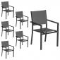 Lot de 6 chaises rembourrées en aluminium anthracite - textilène gris