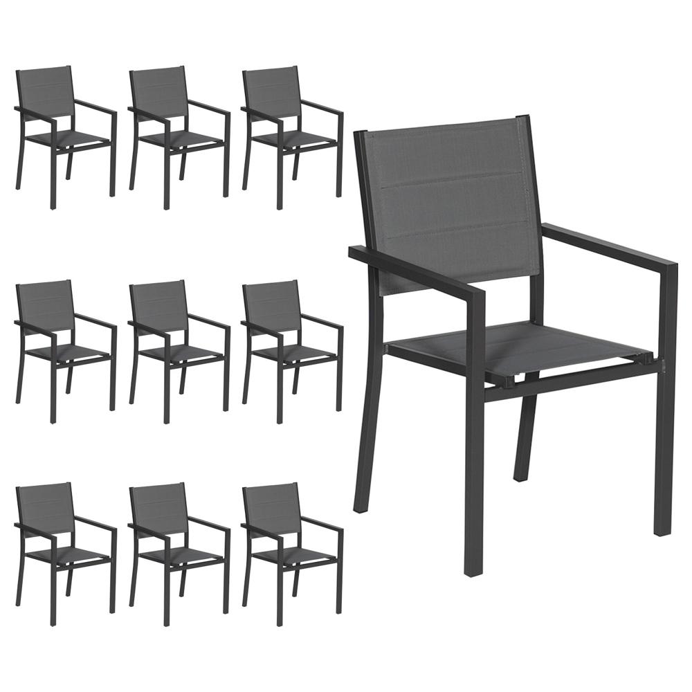 Lot de 10 chaises rembourrées en aluminium anthracite - textilène gris