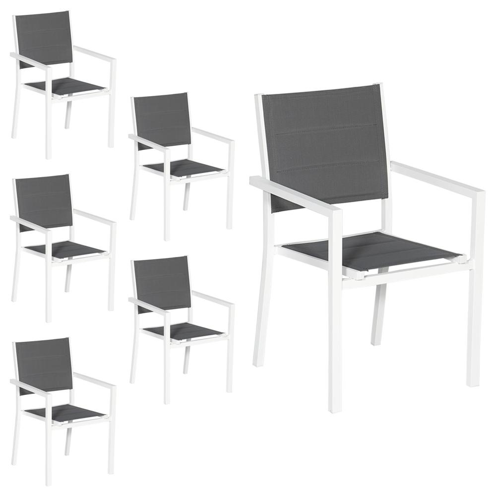 Lot de 6 chaises rembourrées en aluminium blanc - textilène gris