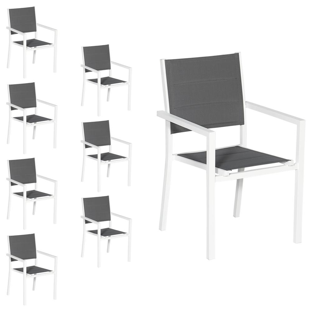 Lot de 8 chaises rembourrées en aluminium blanc - textilène gris