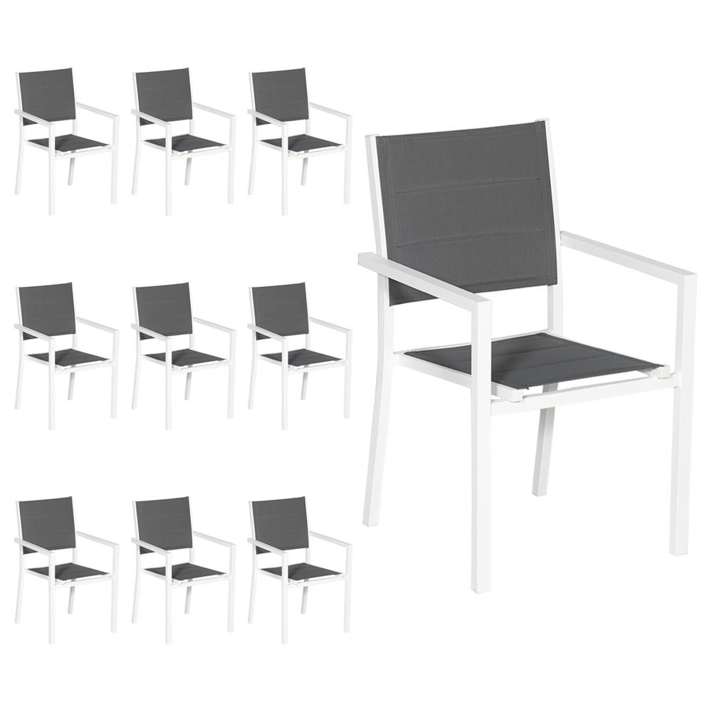 Lot de 10 chaises rembourrées en aluminium blanc - textilène gris