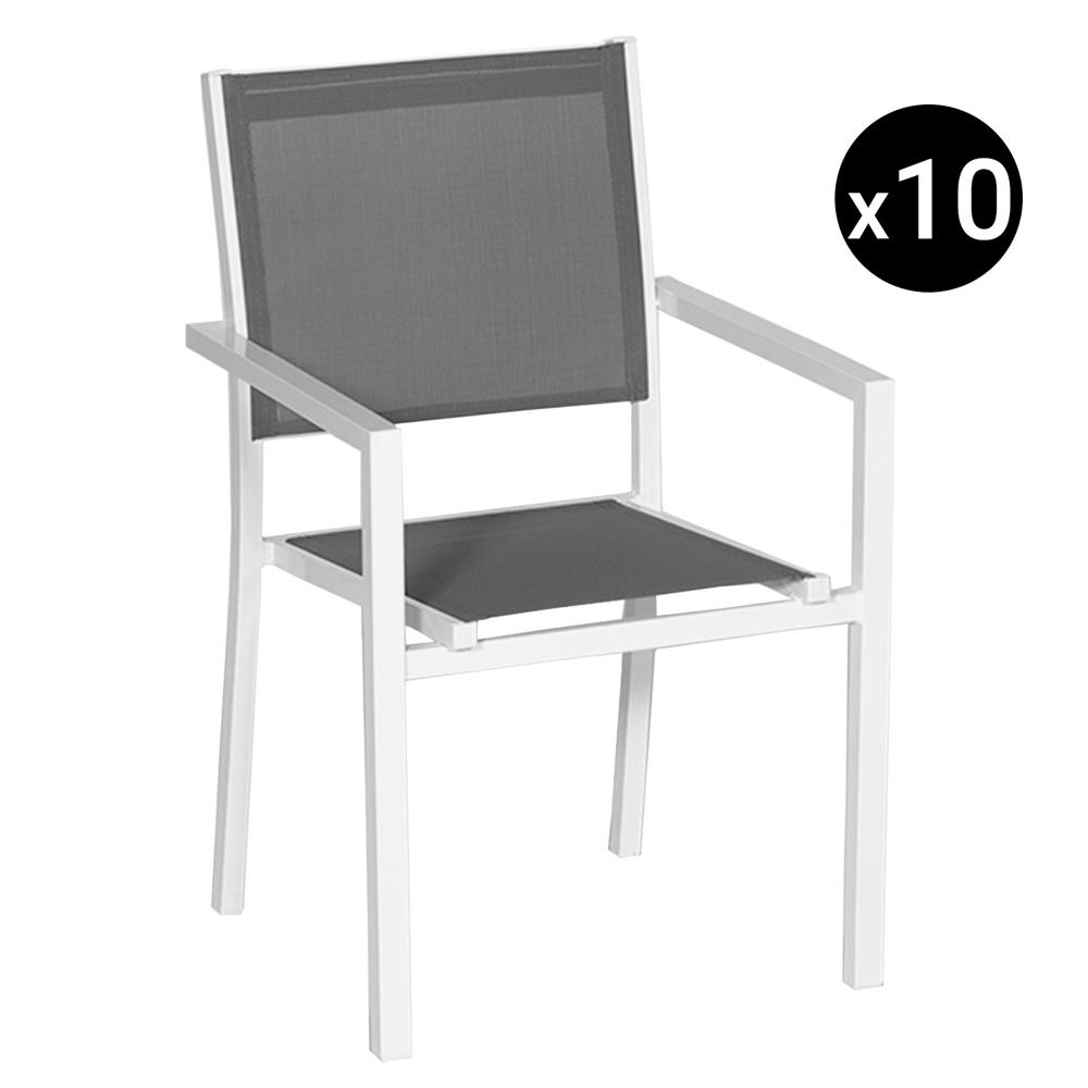 Lot de 10 chaises en aluminium blanc - textilène gris