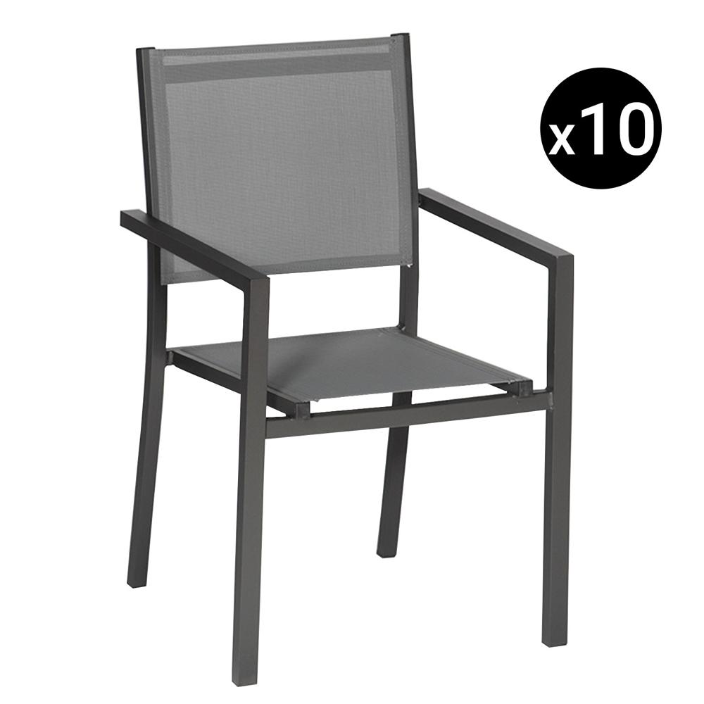 Lot de 10 chaises en aluminium anthracite - textilène gris