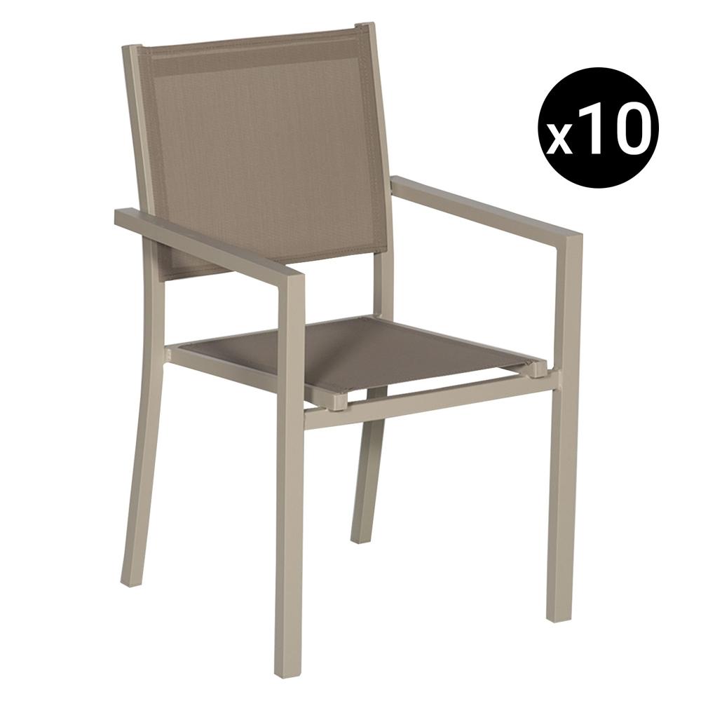 Lot de 10 chaises en aluminium taupe - textilène taupe