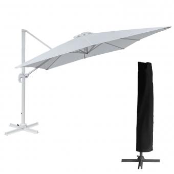 Parasol déporté MOLOKAI carré 3x3m blanc + housse