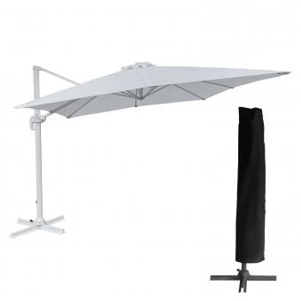 Parasol déporté MOLOKAI rectangulaire 3x4m blanc + housse