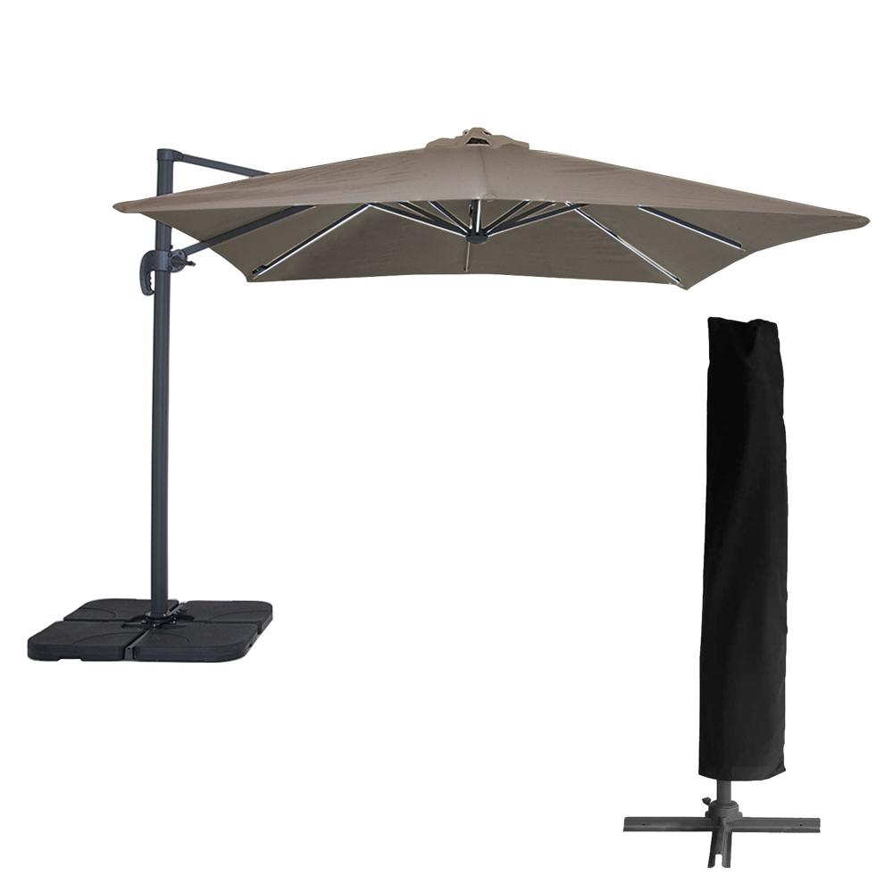 Parasol déporté MOLOKAI carré LED 3x3m taupe + housse
